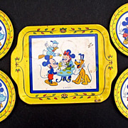 Mickey & Minnie Mouse 1950's Tin Dishes & Tray