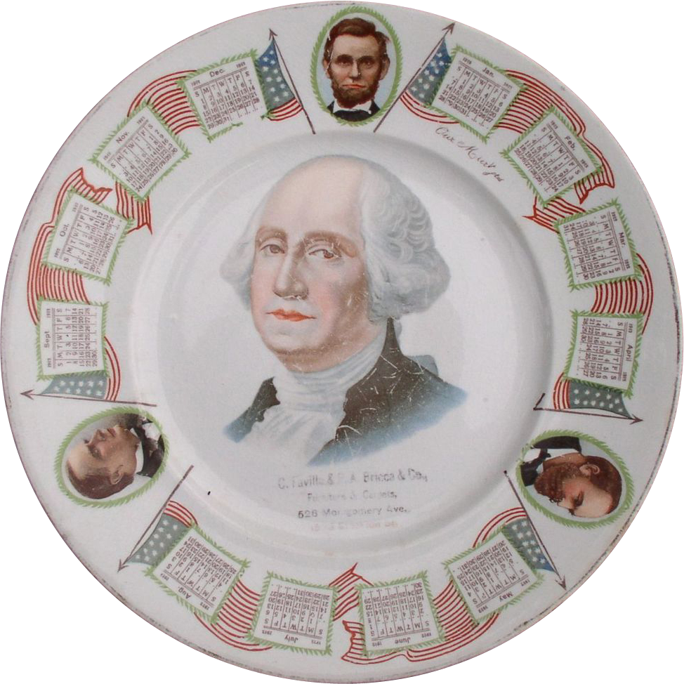 George Washington 1912 Ceramic Plate with 3 other Presidents