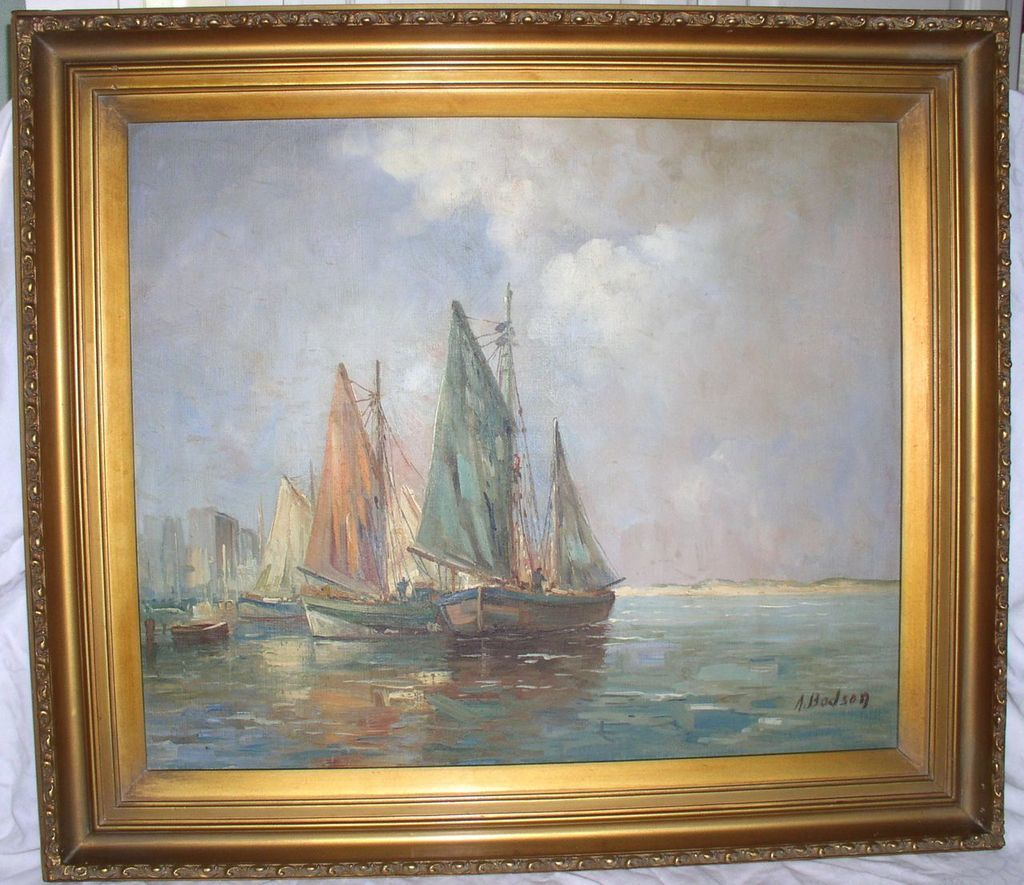 Early 20th Century American Listed Artist A Bodson Sailboat Painting