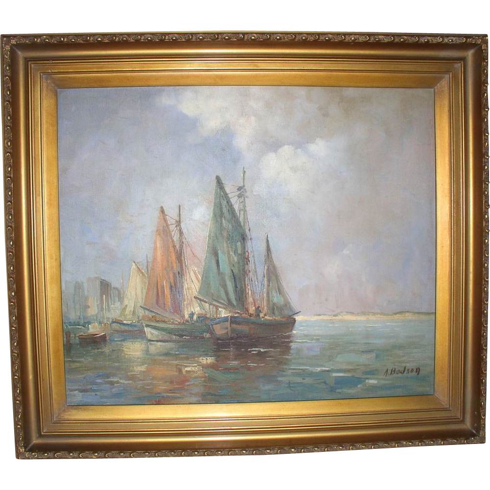 early 20th century american listed artist a bodson sailboat