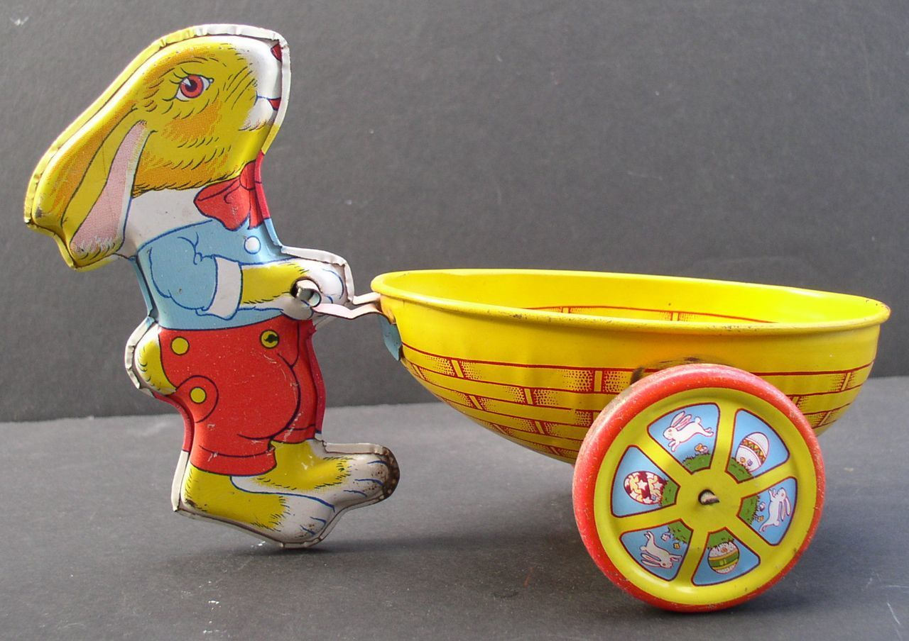 Rabbit 1950's Tin Litho Pushing an Egg Cart Chein Co Easter Toy