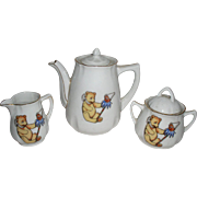 Antique Early German 3 PC Child's Tea Set with Teddy Bear