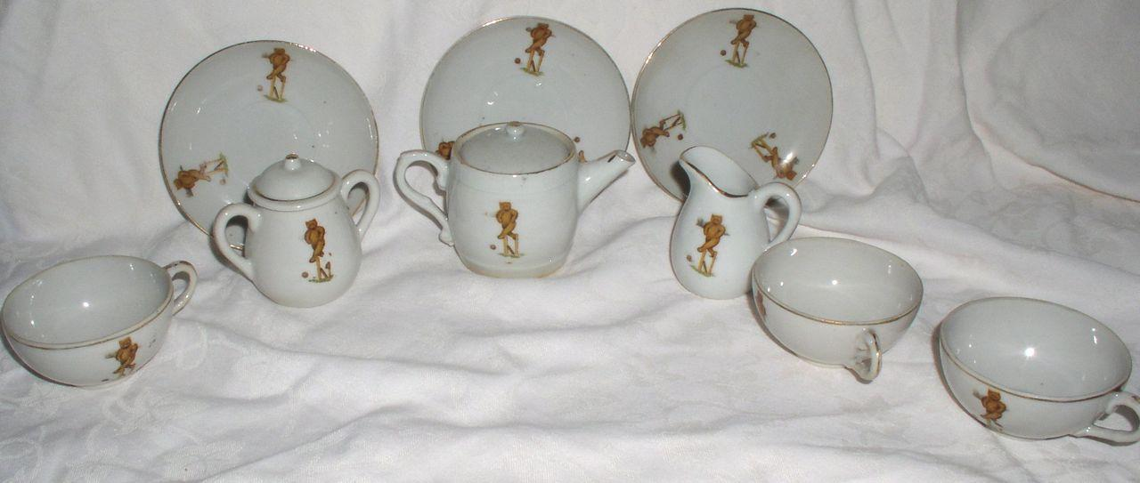 Antique Child's 9 PC Tea Set with Teddy Bears