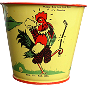 """Chicken in the Rough"" Restraunt 1937 Tin Bucket Golfing Chicken"