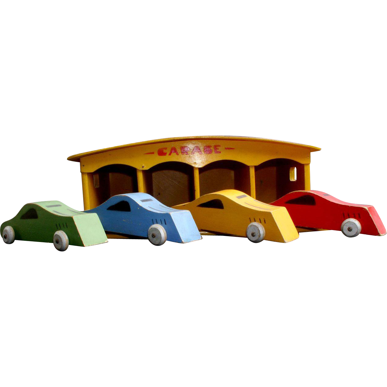 1930's Toy Wooden Garage with 4 Wooden Streamlined Race Cars