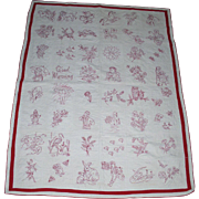 """Antique SGN/Dated 1906 Redwork """"Good Morning"""" Child's Quilt*A Treasure"""
