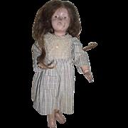 1910s Antique Wood Schoenhut Girl Doll with Original Wig Needs *TLC*