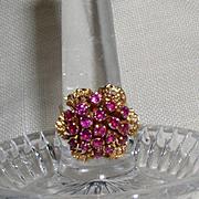 Vintage 18 kt & Ruby Flower Cluster Ring