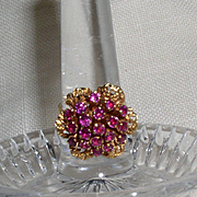 Vintage 18 kt & Ruby Flower Cluster Ring