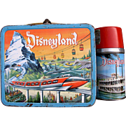 Disneyland 1960 Metal Lunch Box and Thermos Very Nice Shape!