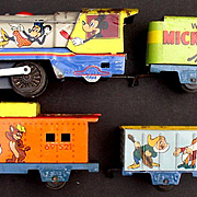 "Mickey Mouse 1950's ""Meteor"" Marx Line Mar 4 piece Train Set"