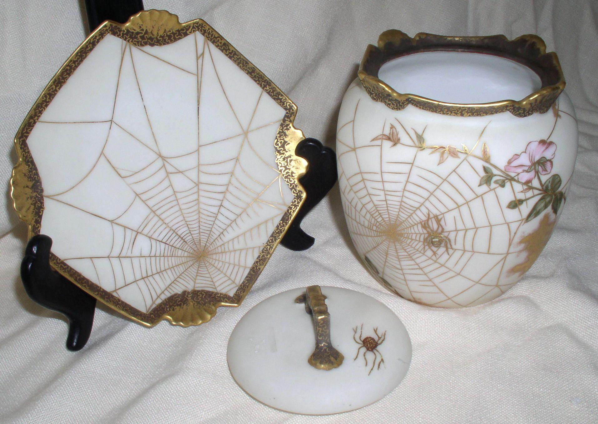 1890s - 1900s Spectacular LIMOGES Artist SGN Fall/Halloween 3 Piece Biscuit Jar
