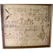 19th Century American Sampler/Embroidery with Birds, Dogs and a Black Couple