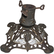 Germany Antique Cast Iron Christmas Tree Stand with Cherub Faces - Red Tag Sale Item