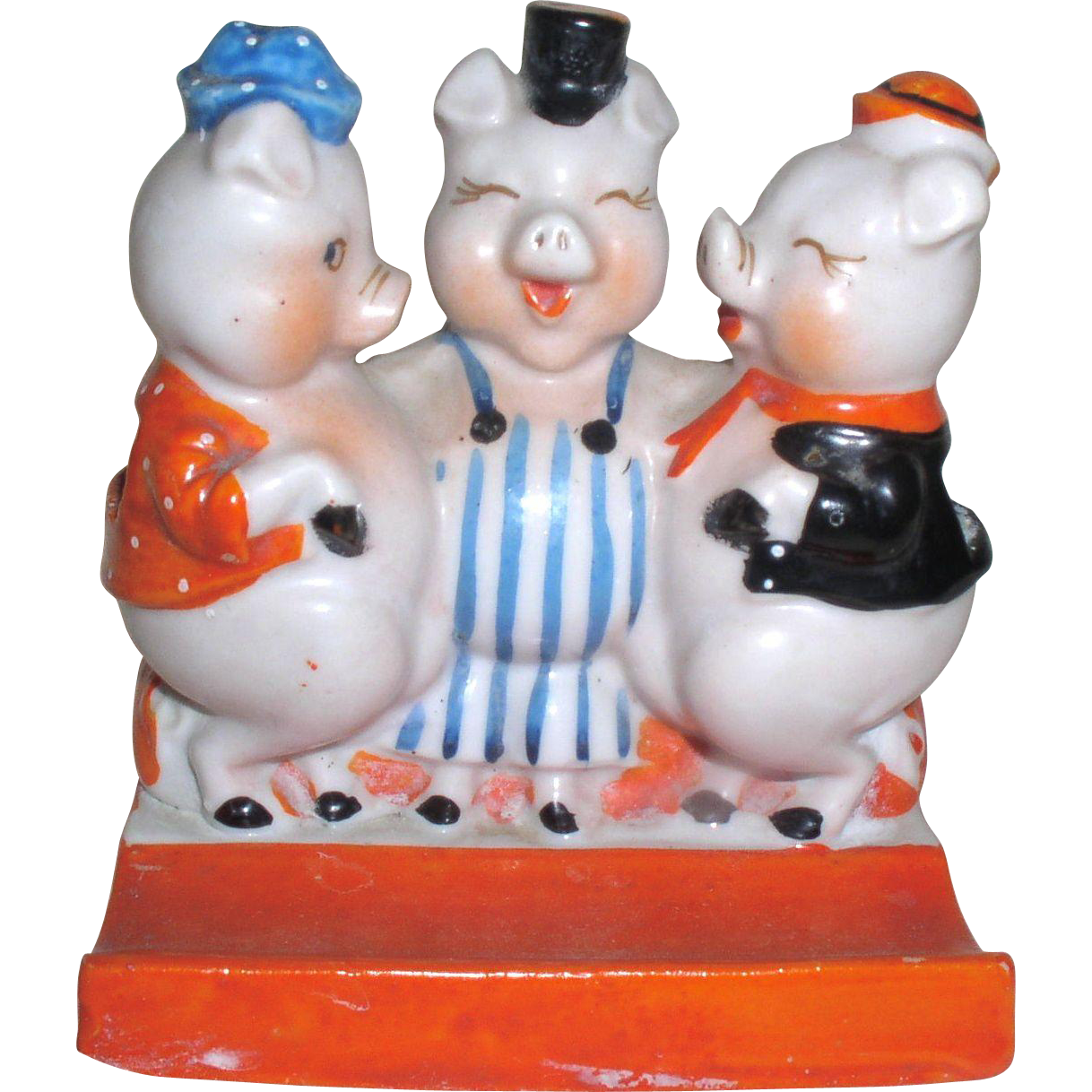 Vintage-Ceramic-Goldcastle-Three-Little-Pigs-Toothbrush-Holder-Made-in-Japan