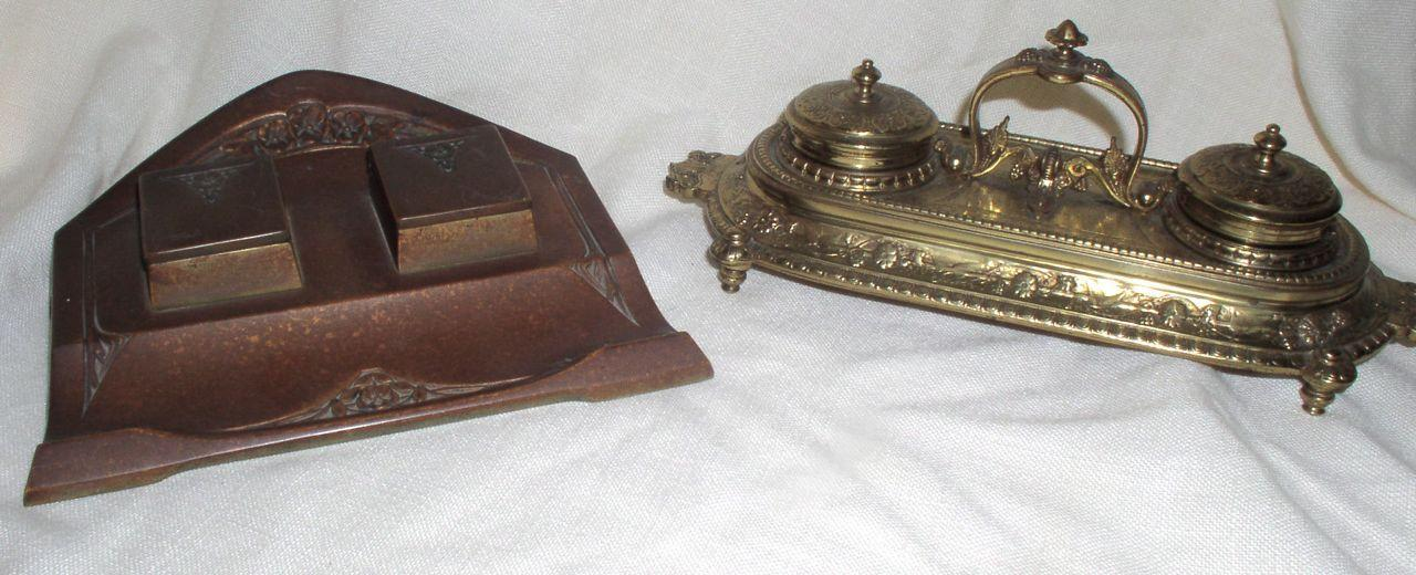 Antique 2 Inkwells Arts & Craft Gesch Bronze and Victorian Ornate Brass