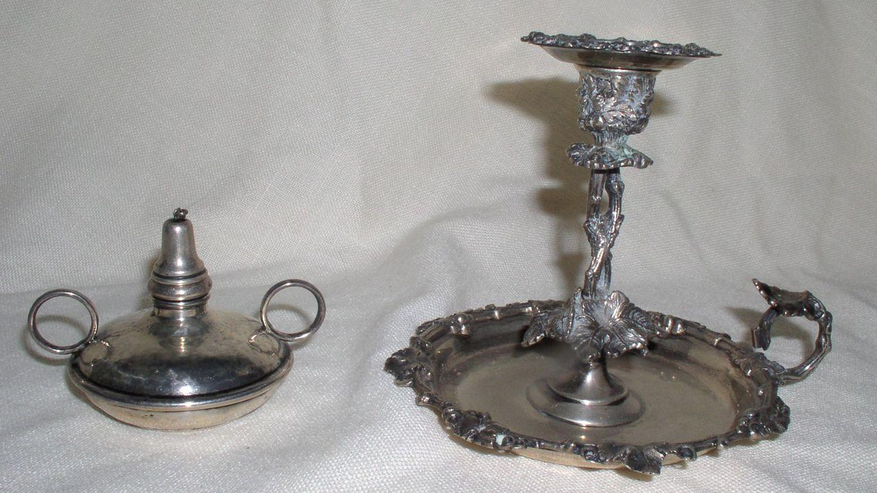 Antique Victorian Sterling Silver ~ Chamber Stick/CandleStick & Sterling Bunsen Burner