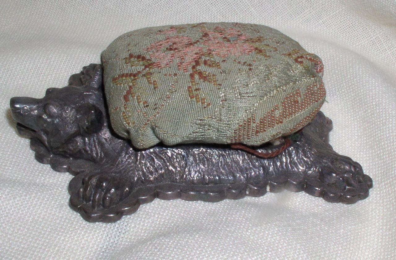 Antique Early Silverplate Bear Rug Pincushion