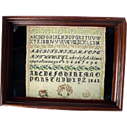 1845 Early American School Girls Sampler/Embroidery