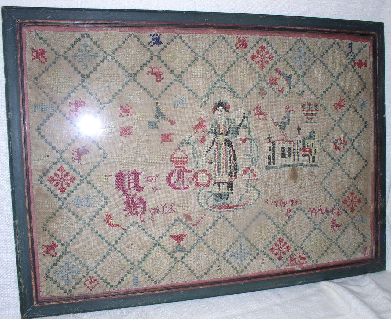 D. 1860 Early American School Girls Sampler/Embroidery