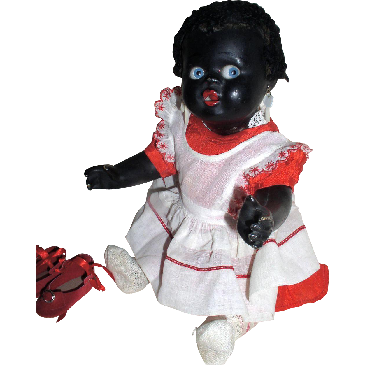1920s - 1930s Black Composition Doll with Side Glancing/Googly Blue Eyes
