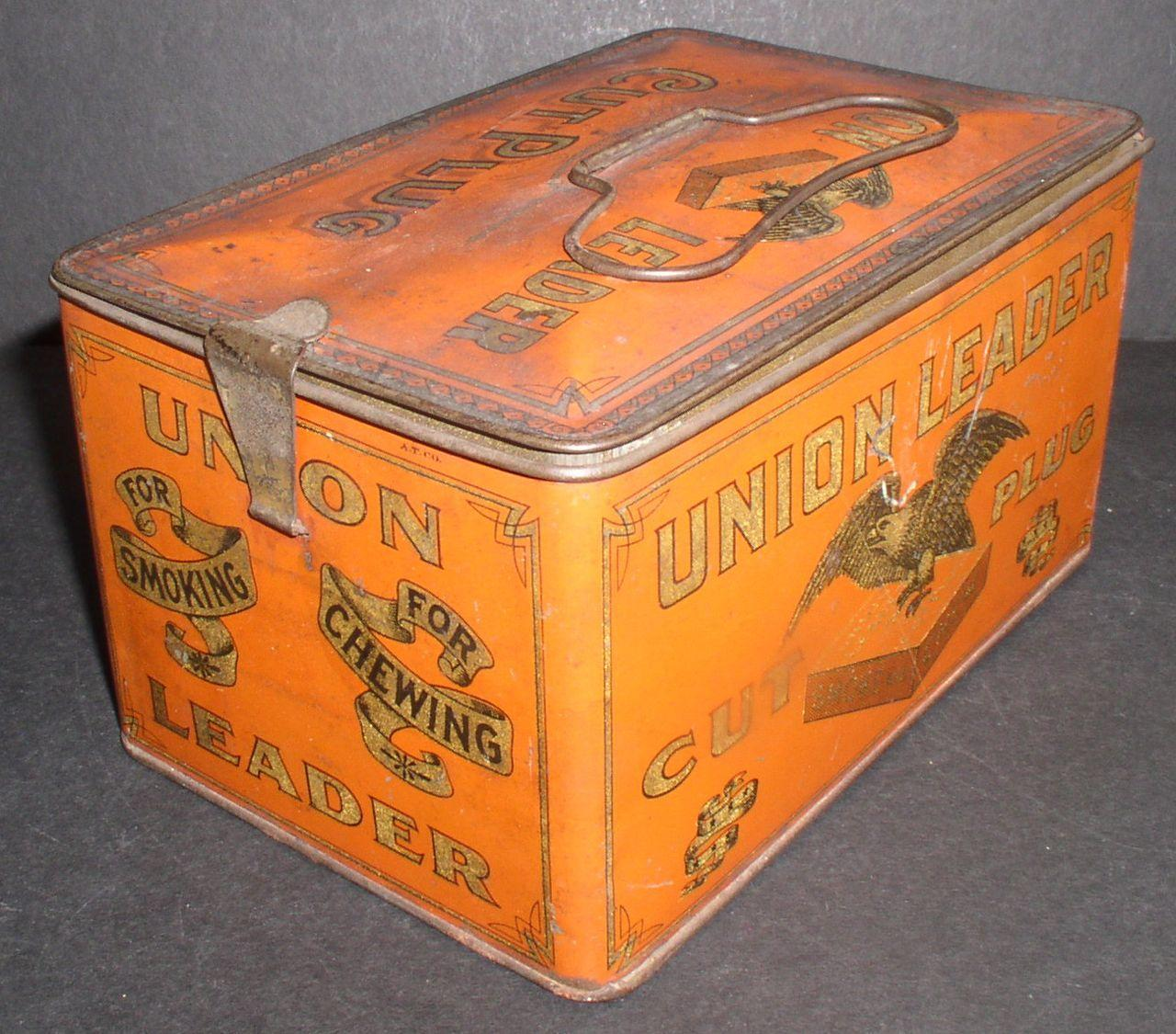 "Tobacco Tin ""Union Leader Cut Plug"" Turn of the Century"