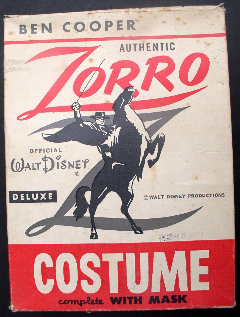 Zorro 1958 Walt Disney Ben Cooper Halloween Costume Box Fully Illustrated
