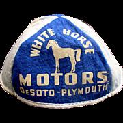 1940's White Horse Motors DeSoto / Plymouth Bulldog Child's Giveaway Felt Beanie