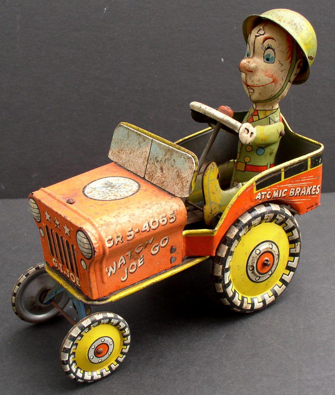 GI Joe and His Jouncing Jeep 1941 Tin Wind-up Toy