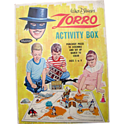 Walt Disney's ZORRO 1965 Activity Box Playset. Great box and contents!