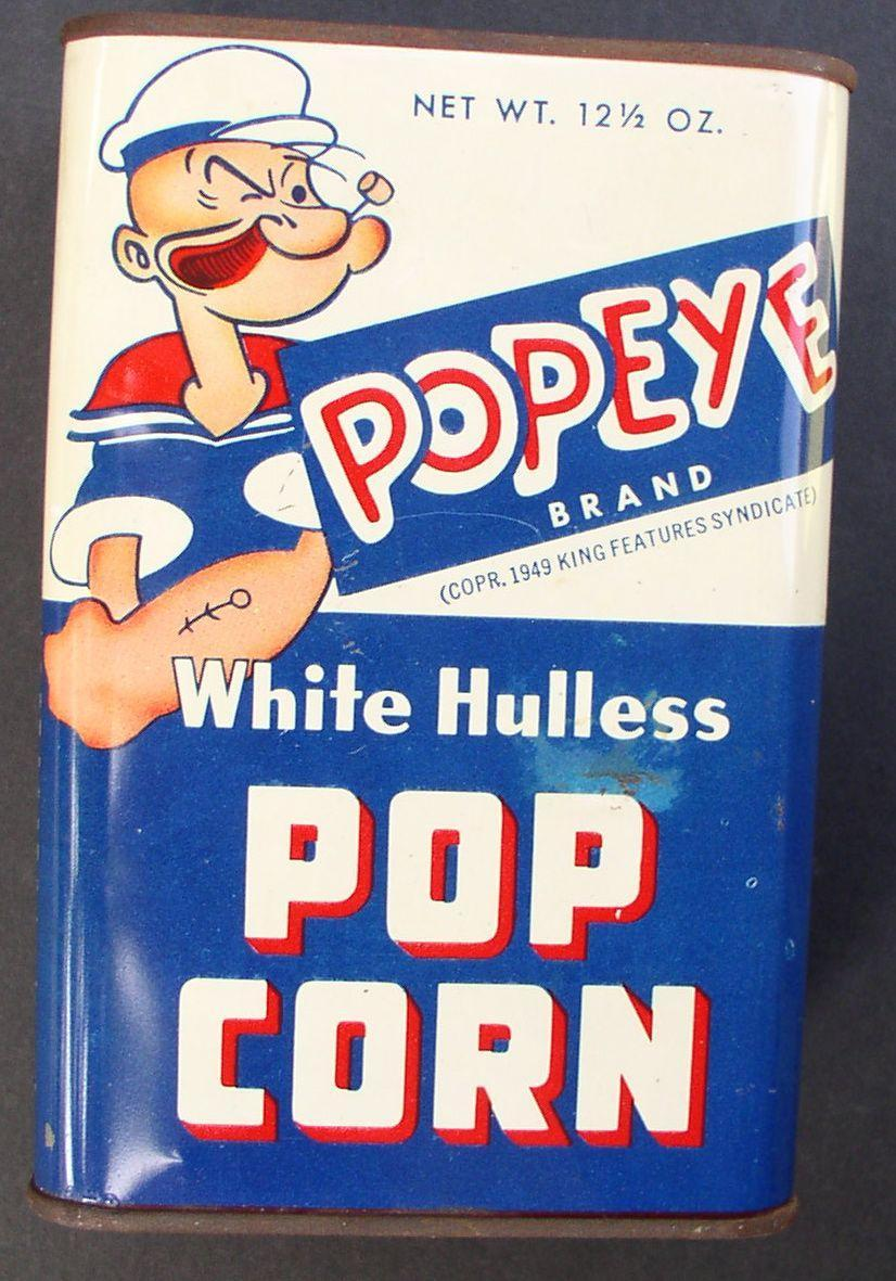 Popeye 1949 Tin Popcorn Can with great graphics!