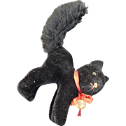 Halloween Black Cat Stuffed Mohair Toy Hermann, Germany with tag 1950's/1960's