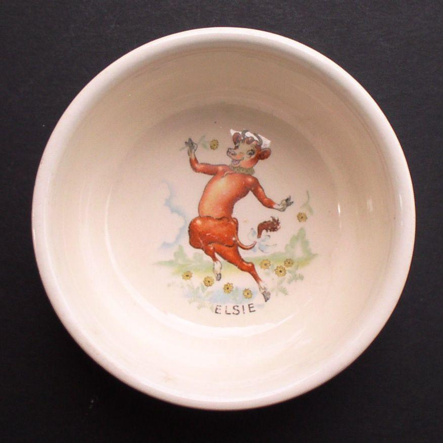 Elsie the Cow 1940's Borden's Milk Child's Cereal Bowl