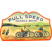 Motorcycles 1930's Track bike full color illustration on Needle Case