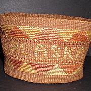 Antique Impressive Alaskan TLINGIT Basket Hand Woven Circa 1900s-1920s