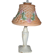 1920s Boudoir Lamp with Beautiful Puffy Glass Shade
