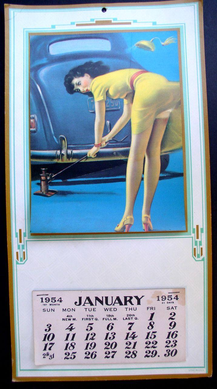 Pin-up Calendar 1954 Full Color Sexy Girl Image Un-used!