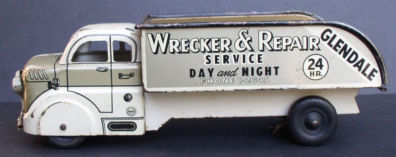 "MARX 1950's ""Wrecker & Repair"" Glendale Service Pressed Steel Truck"