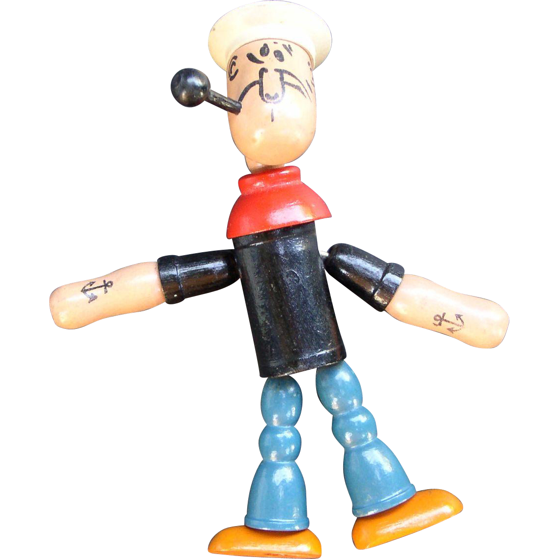 Popeye 1930's Wooden Jointed Figure