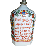 Antique Early German Hand Painted Glass Bottle