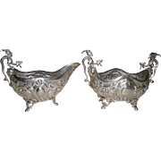 Antique Continental .800 Silver Figural & Embossed Dragon with Wings Sugar & Creamer