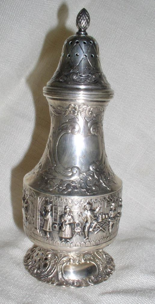 Gorgeous Antique German Sterling Silver Decoratively Embossed Dancing Figurals Sugar Shake