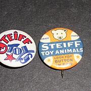 Scarce &  Rare 1930s Steiff Pinback Buttons in Ear