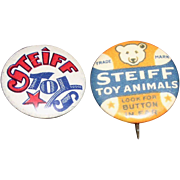 Scarce &  Rare 1930s Steiff Pinback Buttons in Ear