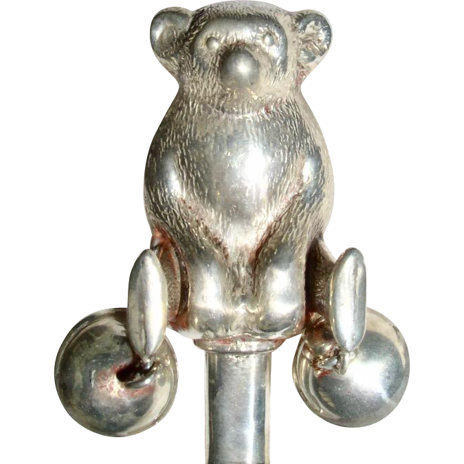 Antique English Sterling Silver Teddy Bear Baby Rattle
