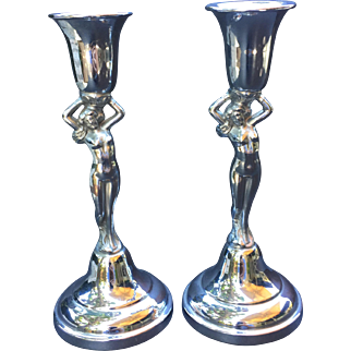 Nude Woman Art Deco Chrome Candle Stick Pair Farber Bros Krome Kraft