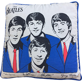 "Beatles Pillow circa 1964 12"" square Official Nordic House Excellent condition!"