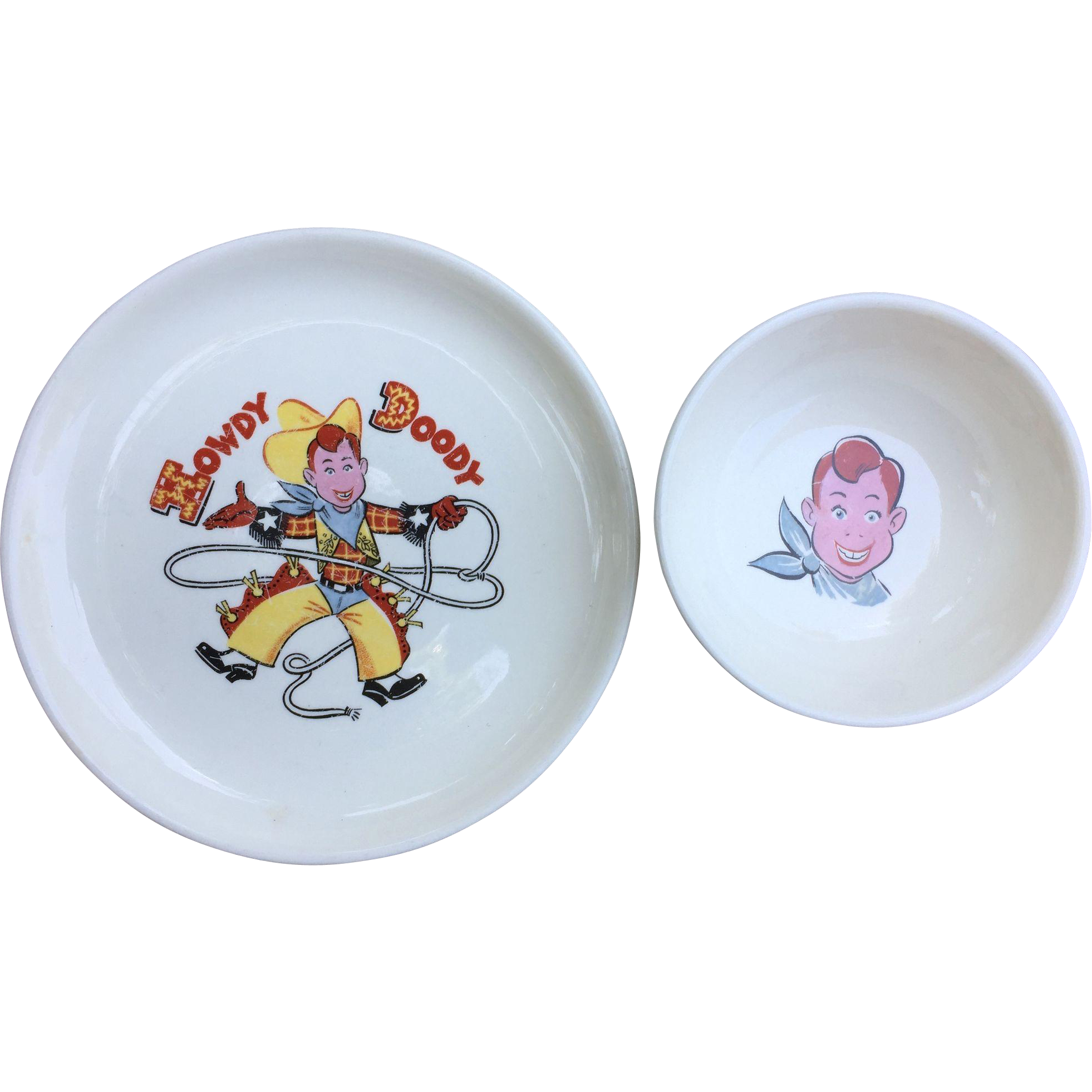 Howdy Doody 1950's Child's Dinner Plate and Bowl Colorful & Nice!