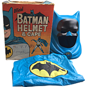 Batman 1966 Helmet and Cape by Ideal Toys in Original Box