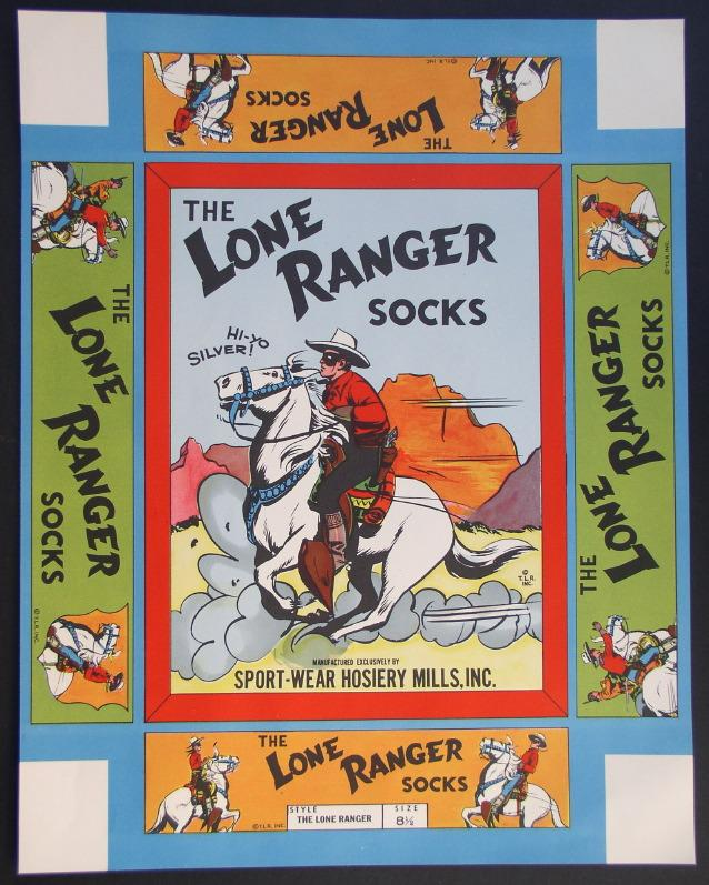 LONE RANGER 1940's Socks Full Color Un-used Box Top